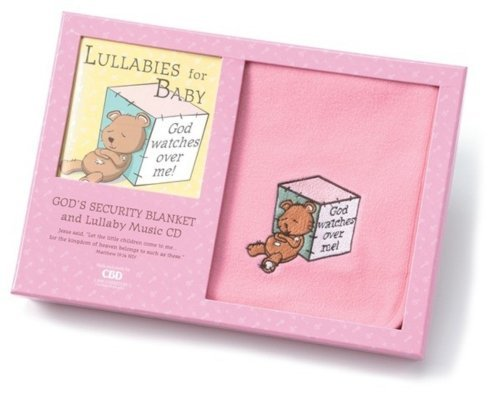 Teddy Bear Security Blanket and Lullaby CD Gift Set in Pink - 1