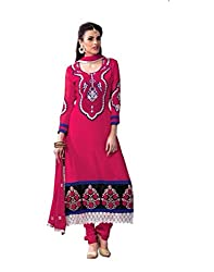 FadAttire Unstitched Georgette Salwar material with Georgette Top, crepe silk inner, bottom and dupatta.-Red-FAAN08