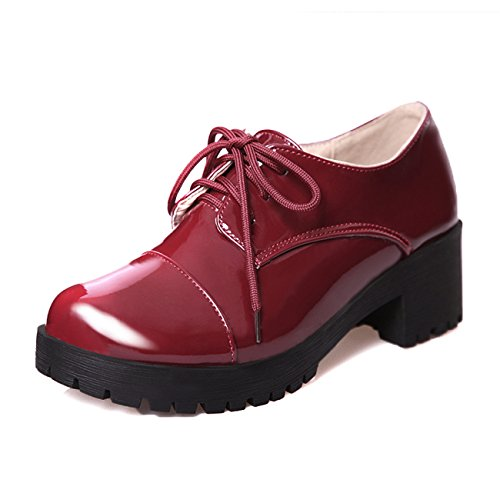 Donne forte tallone rotonde zehe Lace Up Nero Laccato scarpe décolleté, in pelle, nero (rosso vivo), 37 EU