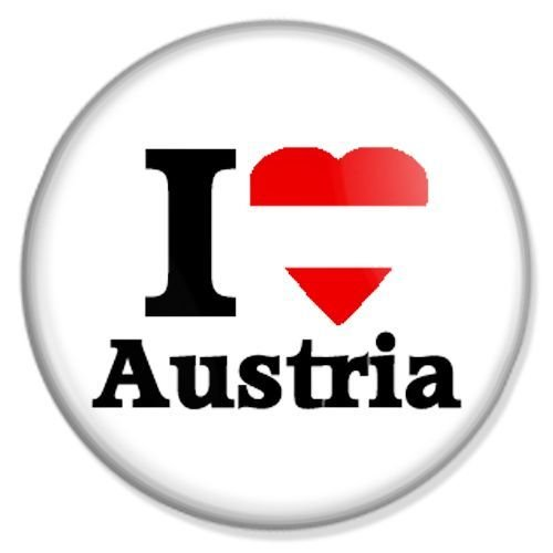 Button I love Austria - I love Badge, I love Pin, I love Badges, I love Button, I love Pins