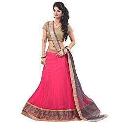 JAY AMBE CREATION PINK COLOUR NET LEHENGA GRAY DUPATTA