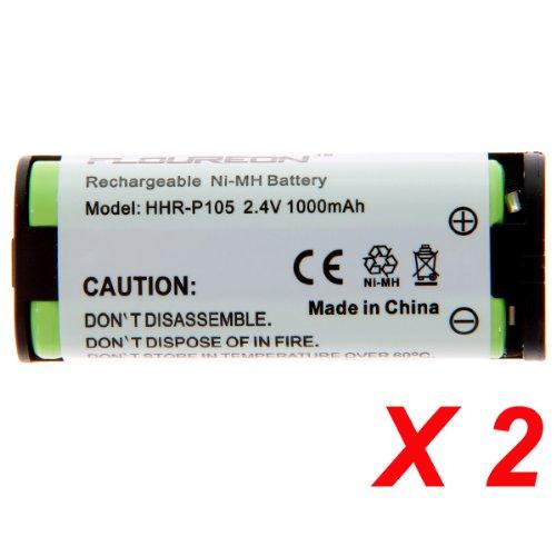 Floureon 2 Packs 2.4V 1000Mah Rechargeable Cordless Phone Telephone Batteries For Toshiba Bt1009, Bt-1009, Dkt2404-Dect, Dk-T2404-Dect