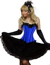 Yummy Bee Burlesque Corset + Long Skirt Plus Size 6-24 Fancy Dress Costume Blue Pink Red Purple (Women: 10-12, Blue)