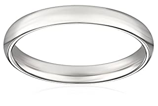 Women's 18k White Gold 3mm Comfort Fit Plain Wedding Band, Size 8