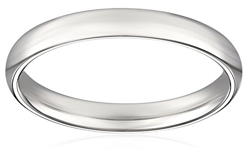 Women's 18k White Gold 3mm Comfort Fit Plain Wedding Band, Size 7