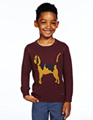 Autograph Dog Intarsia Knitted Jumper with Angora & Cashmere