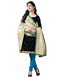 STYLE N DEAL Women's Chanderi Cotton Unstitchced Dress Material (254D3706_Black_Free Size )