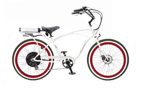 Pedego Classic Cruiser White with Red Rims