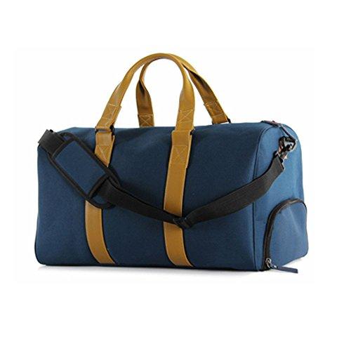 Bagaglio di viaggio borsone borsa Weekend pernottamento Handle Bag w / vano scarpe blu