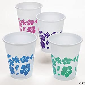 Click to buy 50 Plastic HIBISCUS Drink Cups LUAU PARTY Decor/TROPICAL 16 Oz Beveragefrom Amazon!