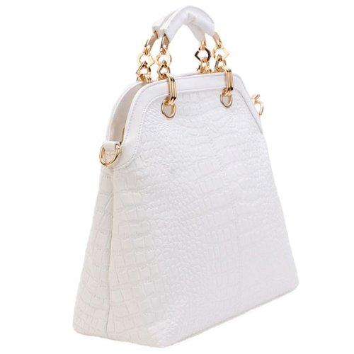 2013 Fashion Shell-Shaped Croc Pu Satchel Shoulder Women Handbags-White