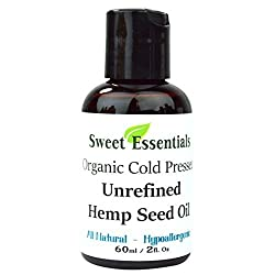 100% Pure Cold Pressed Organic Extra Virgin / Unrefined Hemp Seed Oil (Also Edible) - 2oz - Imported From Canada - Offers Relief From Dry & Cracked Skin, Eczema, Baby Eczema, Psoriasis, Dermatitis, Rosacea & All Common Skin Conditions, Best Natural Moisturizer - 100% Natural, Vegan, Chemical & Preservative Free - By Sweet Essentials