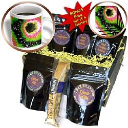 Lee Hiller Designs Retro 60s - Retro 60s Tie Dye Print Black, Pink, Green and White - Coffee Gift Baskets - Coffee Gift Basket