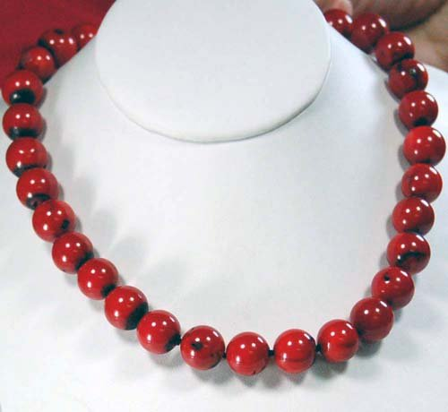 Large 13mm Red Coral Knot Gold Clasp Necklace 18