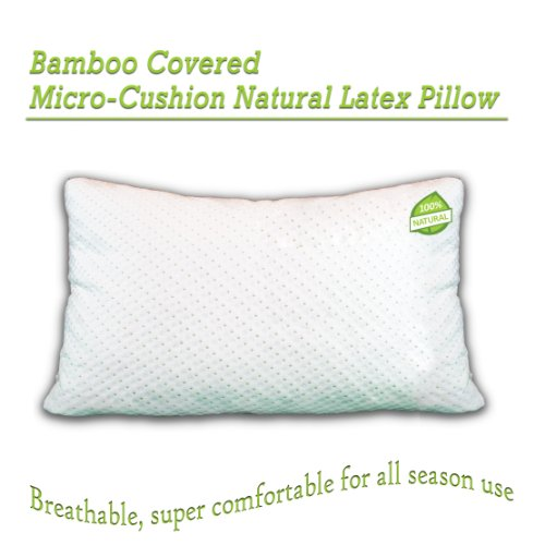 All Natural Micro Cushion Comfort Latex Pillow With Bamboo Covering. Made In Usa. Hypo-Allergenic, Dust Mite Resistant. Satisfaction Guaranteed. Standard Pillow Size.
