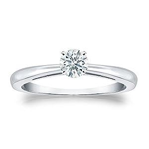 Jewel Oak 1/3 ct. tw. Hearts & Arrows Diamond Solitaire Ring in 14k Rose Gold (F-G, VS2), Size 4.5