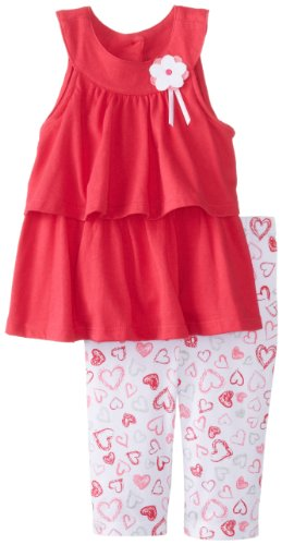 Kids Headquarters Baby-Girls Infant Tunic With Heart Printed Legging, Pink, 24 Months front-627269