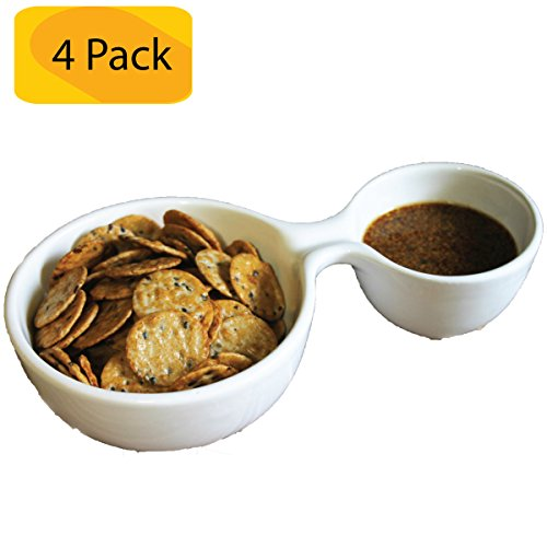 Serving Bowl - Divided With 2 Bowls in 1 Serving Dish - Personal Portion Control Appetizer Plate - Great for Chips, Dip, Salsa & Other Snack Foods (4 Pack) (Mexican Salsa Plate compare prices)