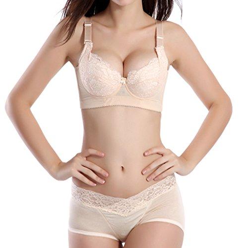 YISUMEI Women's Underwire Bras Underwear Set 5 Hooks Embroidered Beige 36C