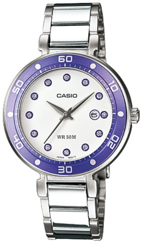 Casio Women's Core LTP1329D-6EV Silver Stainless-Steel Quartz Watch with White Dial