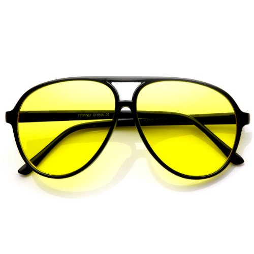 zeroUV - Retro 80s Vintage Blue Blocking XL Large Plastic Aviator Sunglasses (Night Driving | Black / Yellow)