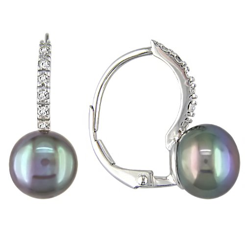 10K White Gold 1/10 ctw Diamond and 8-9mm Cultured Freshwater Pearl Earrings