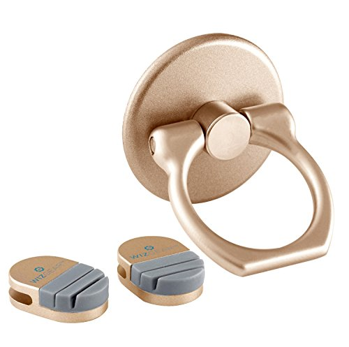 Ring for Phone, WizGear Universal Ring Holder Grip with Stand Holder for Any Smartphones and Device with 2 Base Mounts (Gold)