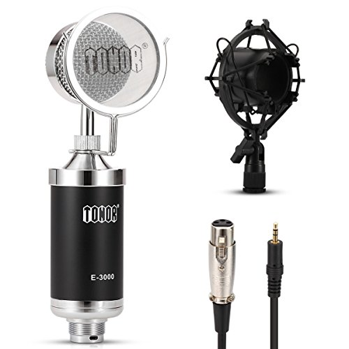 TONOR Professional Podcast Microphone Studio Mic Broadcast Recording PC Microphone Black