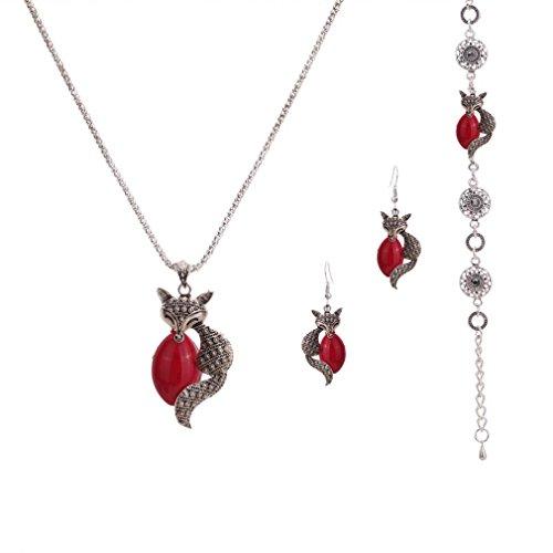 Tibetano YAZILIND corifenidi blaha Fox Popcorn catena collana orecchini turchese braccialetto per le donne gioielli Set, lega metallica, colore: rosso, cod. 1601N0006