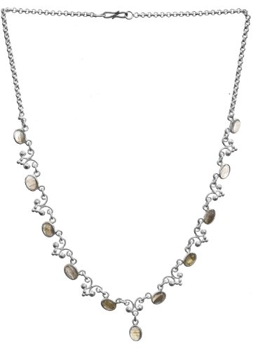 Sterling Necklace with Gems - Sterling Silver - Color Labradorite
