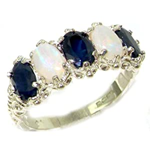 Victorian Design Solid English Sterling Silver Natural Sapphire & Opal Band Ring - Size 5 - Finger Sizes 5 to 12 Available - Suitable as an Eternity ring, Engagement ring, Promise ring, Anniversary ring or Wedding ring