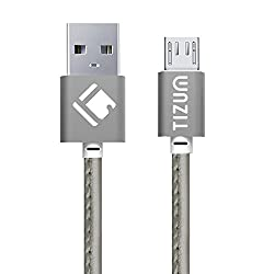 Faux Leather Micro-USB to USB Cable (1.2 meter/ 4 Feet) Fast Charging - 2.4Amp & Sync Data Cable (Silver)