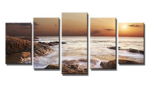 Wieco Art - Canvas Print Giclee Artwork for Wall Decor, Stretched and Framed Art Work, the Rocky Sea - 5 Panels Modern Paintings Canvas Wall Art for Home and Office Decoration Landscape Picture Prints on Canvas Art P5RLA009_f1