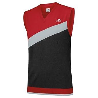 2014 Adidas Angular Heathered Blocked V-Neck Sweater Vest Mens Golf Tank Top-University Red/Black-Small