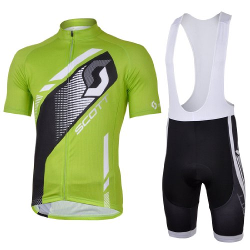 2013 NEW!!! SCOTT green Bib Short Sleeve Cycling Jerseys Wear Clothes Bicycle/ Bike/ Riding Jerseys + Bib Pants Shorts Size L