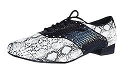 TDA Men\'s Latin Snakeskin Black Leather Lace-up Fashion Comfort Tango Ballroom Modern Dance Shoes 13 B(M) US
