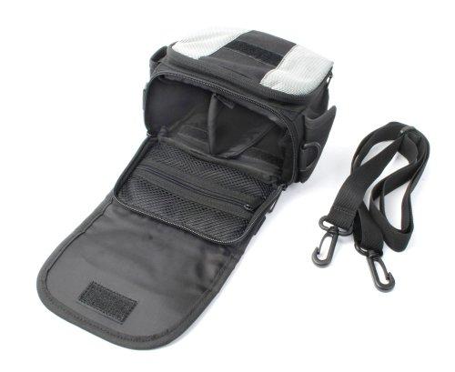Kompakte Tasche mit Trennfach für Panasonic HC-V500EG-K Full-HD-Camcorder (schwarz / grau)