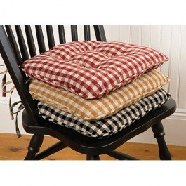house check chair pad 16 by 16 inch black nutmeg gingham chair pad