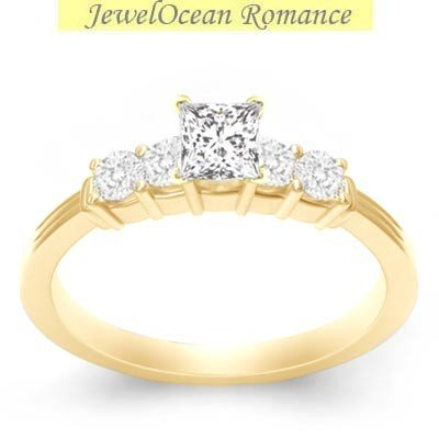 0.58 Carat Cheap Engagement Ring with Princess cut Diamond on 14K Yellow gold