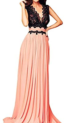Roswear Sleeveless Deep-V Neck Lace Bodice Contrast Maxi Evening Dress