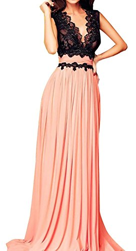 Roswear-Sleeveless-Deep-V-Neck-Lace-Bodice-Contrast-Maxi-Evening-Dress
