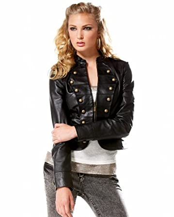 bebe Leather Military Jacket