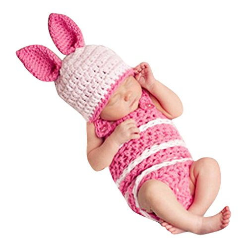SMARSTAR Baby Girl Boy Hat Beanie Knit Cap Photograph Prop Outfit Rabbit Costume Set