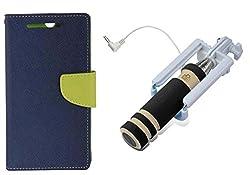 Novo Style Book Style Folio Wallet Case LenovoA6000::LenovoA6000 Plus Blue + Wired Selfie Stick No Battery Charging Premium Sturdy Design Best Pocket SizedSelfie Stick