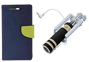 Novo Style Wallet Case Cover For Nokia Lumia 720 Blue + Wired Selfie Stick No Battery Charging Premium Sturdy Design Best Pocket Sized Selfie Stick