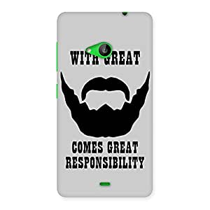 Cute Beard And Responsibilty Grey Back Case Cover for Lumia 535