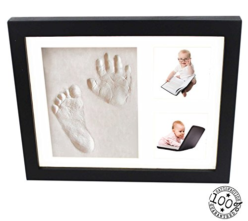 buy Baby Handprint and Footprint Black Frame Kit From Kiddie Famous. A Perfect Memory Piece To Showcase Pictures and Clay Mold Imprints. Bonus Includes Free Decorative Pieces. for sale