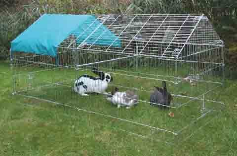 Galvanised Large apex Rabbit run with Top for Small Animals, 2.2 x x 1.03mcm