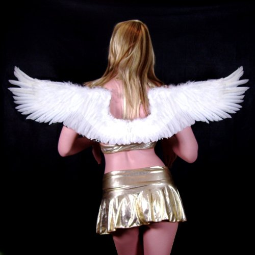 SACAS Large White Feather Angel Fairy Wings with Free Halo Photo props