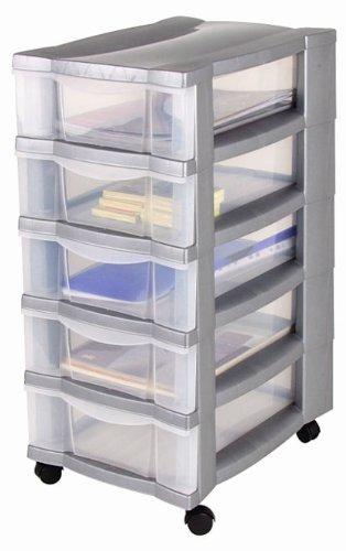 Armoire à roulettes avec 5 tiroirs transparents et 4 roulettes